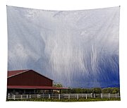 Scifi Storm And Red Barn Tapestry