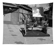 Scuptures On The Corner In Black And White Tapestry