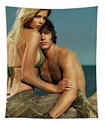 Sensual Portrait Of A Young Couple On The Beach Tapestry