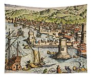 Seville: Departure, 1594. /ndeparture For The New World From Sanlucar De Barrameda, The Port Of Seville, Spain. Line Engraving, 1594, By Theodor De Bry Tapestry