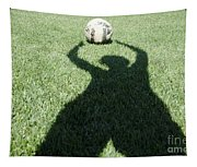 Shadow Playing Football Tapestry