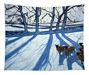 Sheep In Snow Tapestry