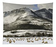Sheep In The Snow Tapestry