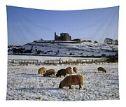 Sheep On A Snow Covered Landscape In Tapestry