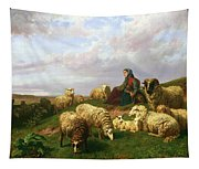 Shepherdess Resting With Her Flock Tapestry