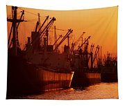 Shipping Freighters At Sunset Tapestry