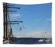 Ships In Oslo Harbor Tapestry