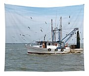 Shrimp Boat And Gulls Tapestry
