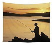 Silhouette Of A Fisherman Fishing On Tapestry