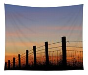 Silhouette Of Barbed Wire Fence Tapestry