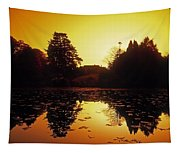 Silhouetted Home And Trees Near Water Tapestry