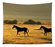 Silhouetted Horses Running Tapestry