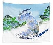 Ski Sledding Blue Polar Bear Tapestry
