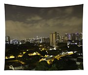 Skyline Of A Part Of Singapore At Night Tapestry