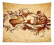 Sleeping Angel Original Coffee Painting Tapestry