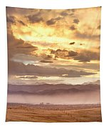 Smoky Sunset Over Boulder Colorado  Tapestry