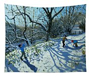 Snowball Fight Tapestry