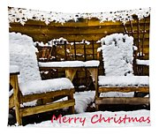 Snowy Coffee Holiday Card Tapestry