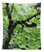 Soft Green Leaves Tapestry