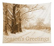 Soft Sepia Season's Greetings Card Tapestry