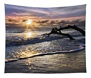 Sparkly Water At Driftwood Beach Tapestry
