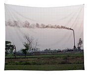 Spewing Smoke And Pollution Into A Green Rural Environment Tapestry