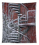 Spiral Staircase With Snow And Cooper's Hawk Tapestry
