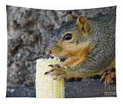 Squirrel Holding Corn Tapestry