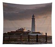 St Marys Lighthouse After Sunrise Tapestry