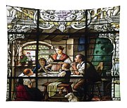 Stained Glass Family Giving Thanks Tapestry