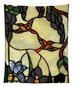 Stained Glass Humming Bird Vertical Window Tapestry