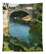 Stari Most Or Old Town Bridge Over The Tapestry