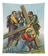 Station Vii Jesus Falls Under The Cross The Second Time Tapestry