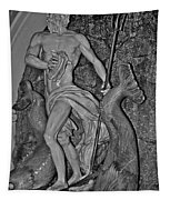 Statue 17 Black And White Tapestry
