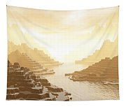 Misted Mountain River Passage Tapestry