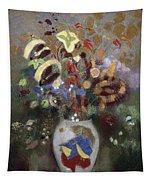 Still Life Of A Vase Of Flowers Tapestry