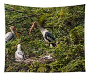 Storks Around A Nest Tapestry