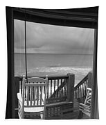 Storm-rocked Beach Chairs Tapestry