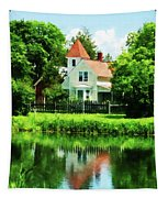 Suburban House With Reflection Tapestry