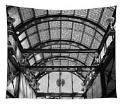Subway Glass Station In Black And White Tapestry