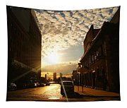 Summer Sunset Over A Cobblestone Street - New York City Tapestry