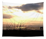 Sun Behind The Clouds On The Beach Tapestry