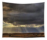 Sun Rays Through Clouds Over Three Old Tapestry