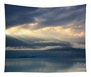 Sunlight And Clouds Over An Alpine Lake Tapestry