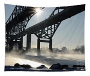 Sunrise Blue Water Bridges Fog Tapestry