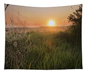 Sunrise On A Dew-covered Cattle Pasture Tapestry