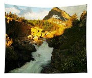 Sunrise On A Waterfall At Glacier  Tapestry
