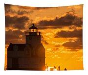 Sunrise Pier Fishermen Tapestry