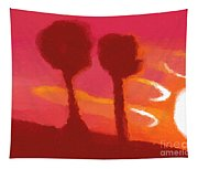 Sunset Abstract Trees Tapestry