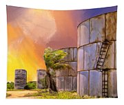 Sunset And Abandoned Oil Tanks Tapestry